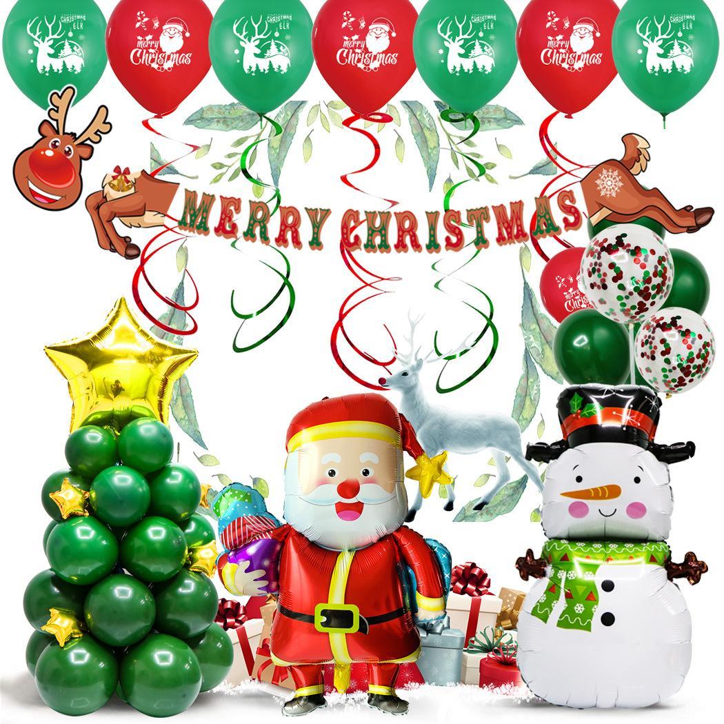 Noel sahne ile 2020 Noel dekorasyon Noel balon 12 inç yuvarlak lateks alüminyum filmi kombinasyonu