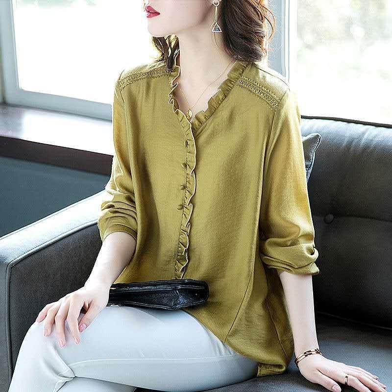 ev10y свободного размера длинный рукав для V-образного вырез 2020 уха Женщины деревянной нового Top Shirt рубашки простого Большой верхней части для жира ММ