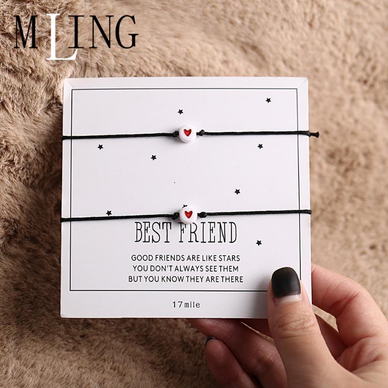 MLING 2 pièces / Set récents Chaîne Corde réglable Bracelet En couple Simple Bracelet Coeur