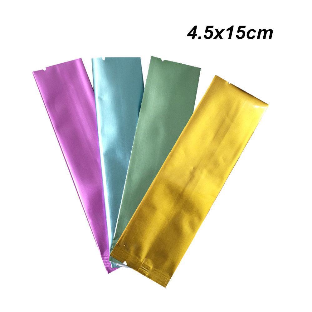 4.5x15cm 100Pcs thermoscellage en feuille d'aluminium d'emballage Sac Snack Mylar café Emballage Pochette vide Seal Open Top alimentation sac de rangement Pouches emballage