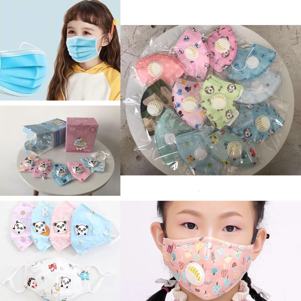 Faccia della valvola 5 Cartoon Maschera antigas di filtraggio Livelli di sfiato Panda modello riutilizzabile lavabile bambini polvere 8ahb