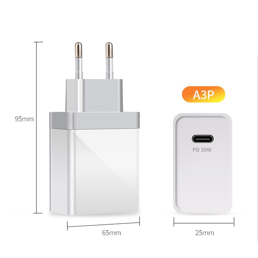 Carregador de carga USB do PD de 30W compacto e portátil QC3.0 tipo C para o carregador rápido da carga rápida para o plugue do UE UE