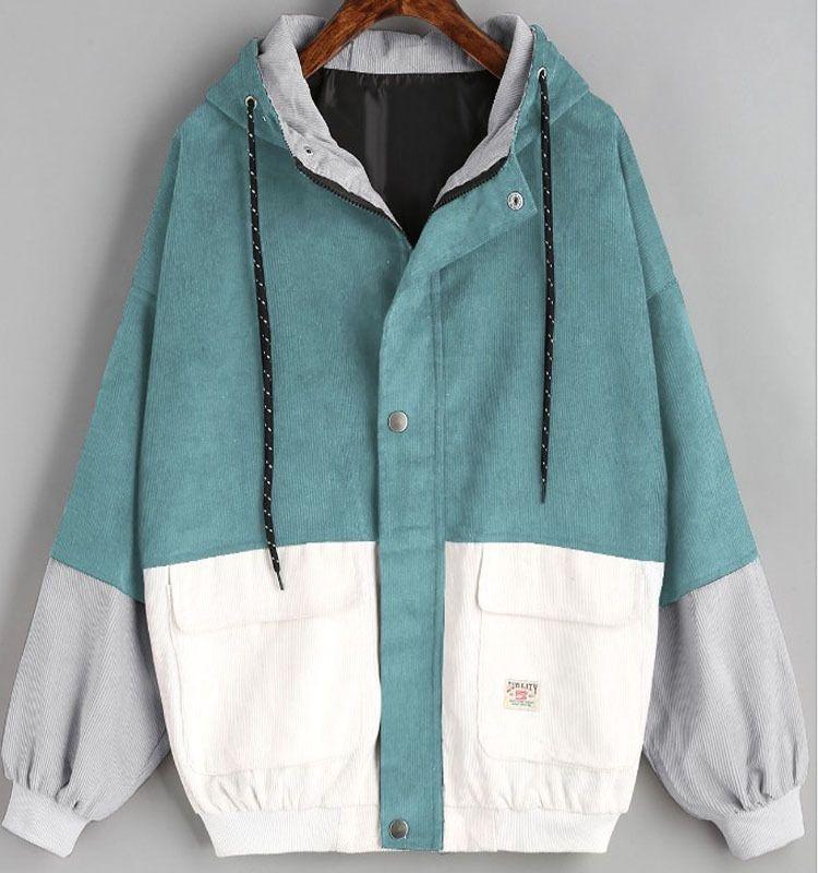 Mode féminine à capuchon Color Block Veste en velours côtelé cool Hommes Femmes Automne Hiver Hip Hop Zipper Baseball Jacket 5 couleurs Taille S-3XL