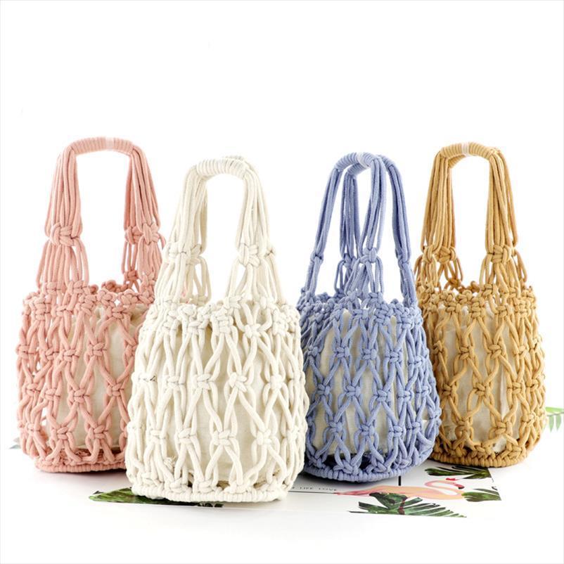 Новый мешок соломы Толстый хлопок сплетенный мешок Портативный Хлопок Чистая сумка Повседневная сумка пляж Drop Shipping