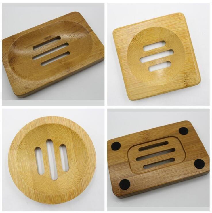 Estante para platos de jabón Placa caso simple baño de bambú Lxl827 titular sostenedor de la bandeja de bambú Baño Natural Accesorios Jabón powerstore2012 xjnNn