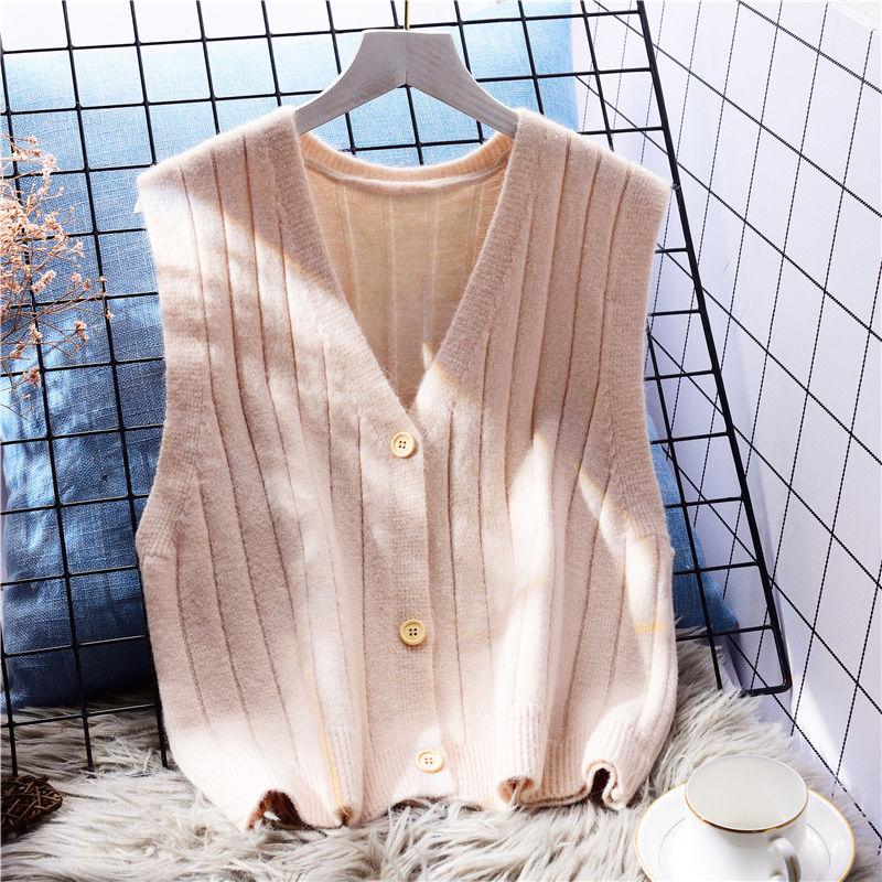 Women's Knits & Tees 2021 Autumn Women Fashion V- Neck Knitted Solid Sleeveless Outwear Pullover Daily Sweater Vintage Tank Tops L105