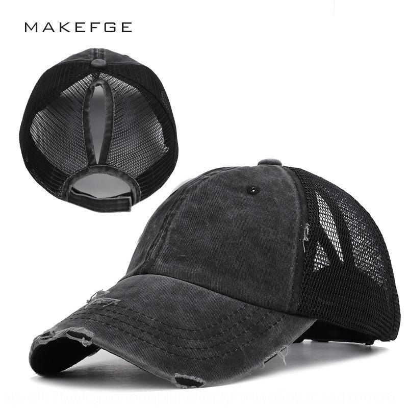 jlXpN été baseball baseball queue de cheval féminin ouvert chapeau net après trou de couleur unie vide haut chapeau de soleil tresse de fuite