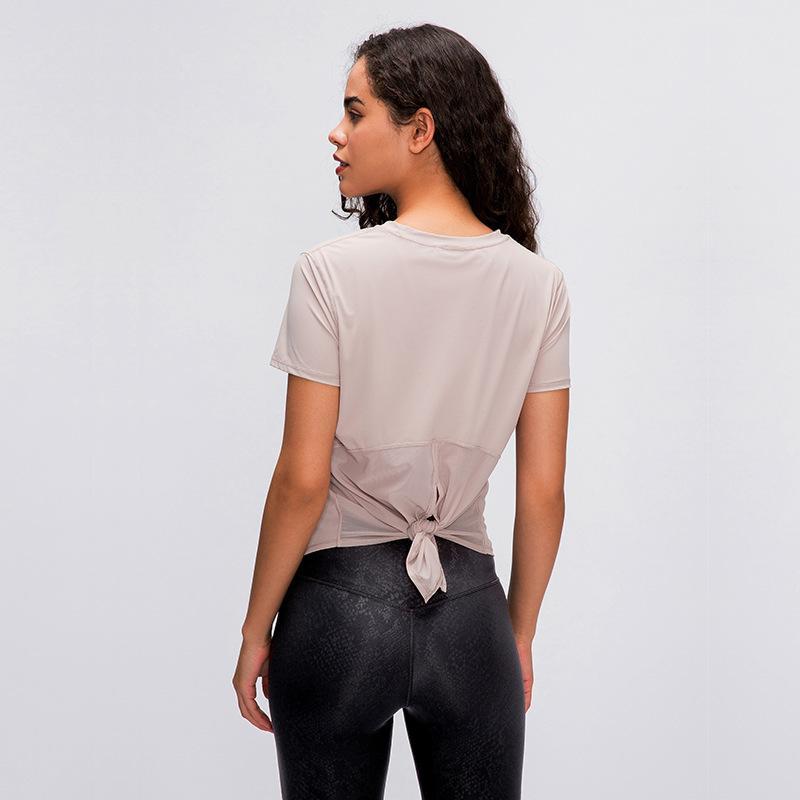 شبكة الظهر اليوغا لو قمم الملابس جم النساء بأكمام قصيرة تي شيرت للياقة البدنية يعمل حزام الأزياء التجفيف السريع تنفس فضفاضة سترة بلوزة لو أعلى