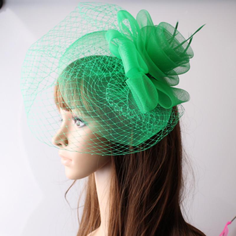 Signore eleganti capelli fascinators accessori di fantasia fiori di piume donne per cappelli da sposa cappelli da sposa con velo e gare MYQ045