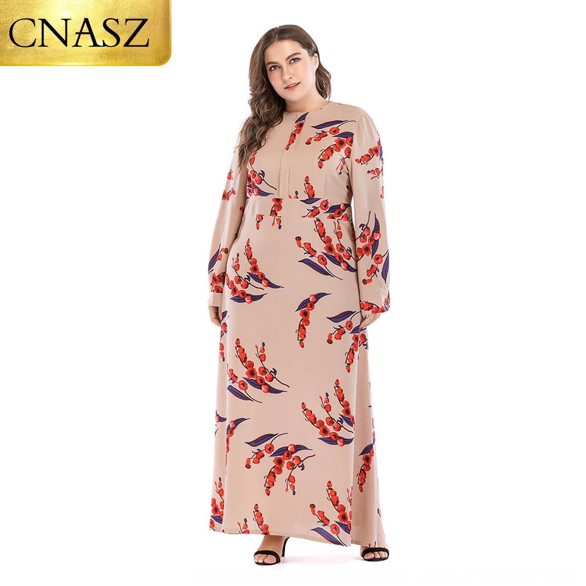Imprimé à manches longues slim fit grande taille 9074 Imprimé robe à manches longues slim fit grande robe de taille 9074 8O6Wn