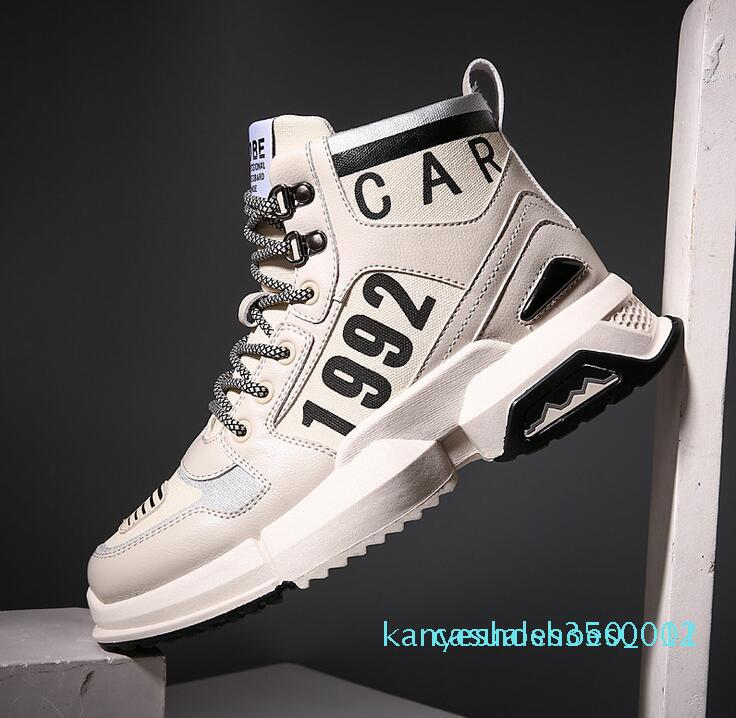 New pattern Leisure sports shoes Thick Bottom and High Band Personality Men's single shoes k12