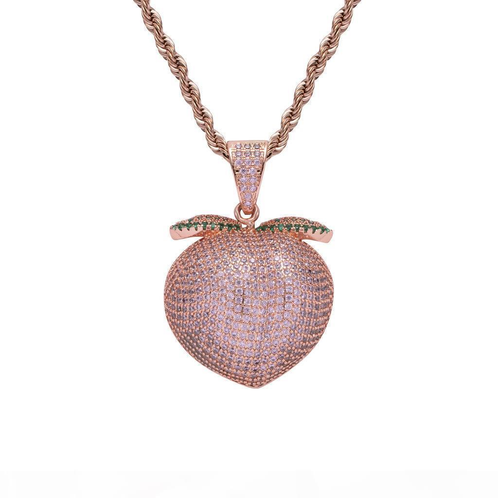 Pink Fruit Peach Pendant Rope Chain Necklace Hiphop Jewelry Men's Iced Out Pink Peach Pendant for Nightclub
