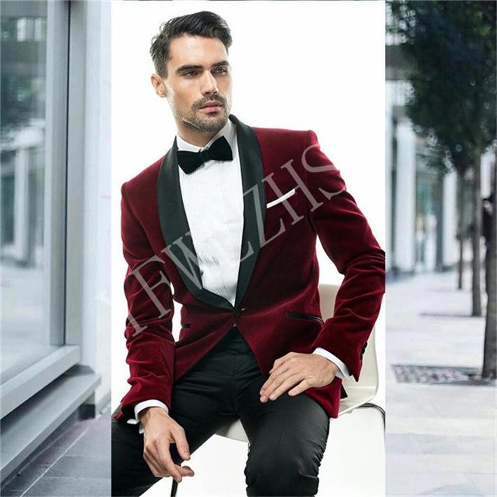 Trajes apuesto pana padrinos de boda del mantón de la solapa de los smokinges del novio de la boda del hombre / de Baile / Cena mejor hombre Blazer (chaqueta + pantalones + lazo) K205