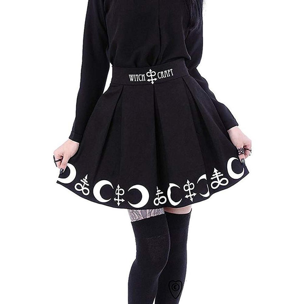 Estate gonne delle donne punk gotico Witchcraft Luna magici simboli Magia pieghe Minigonna mini faldas mujer moda 2019 # 1217