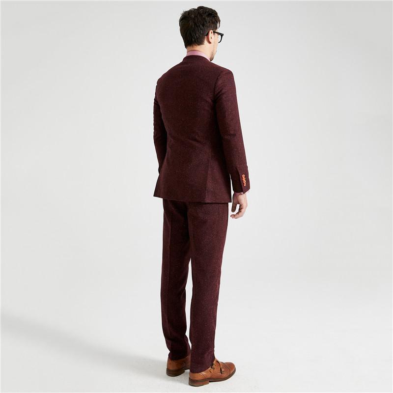 Men 'S Tailor Made Woolen Silk Tweed Wedding Dress Suit Classic Groom Wear Tuxedo Burgundy Dots Tweed Suits