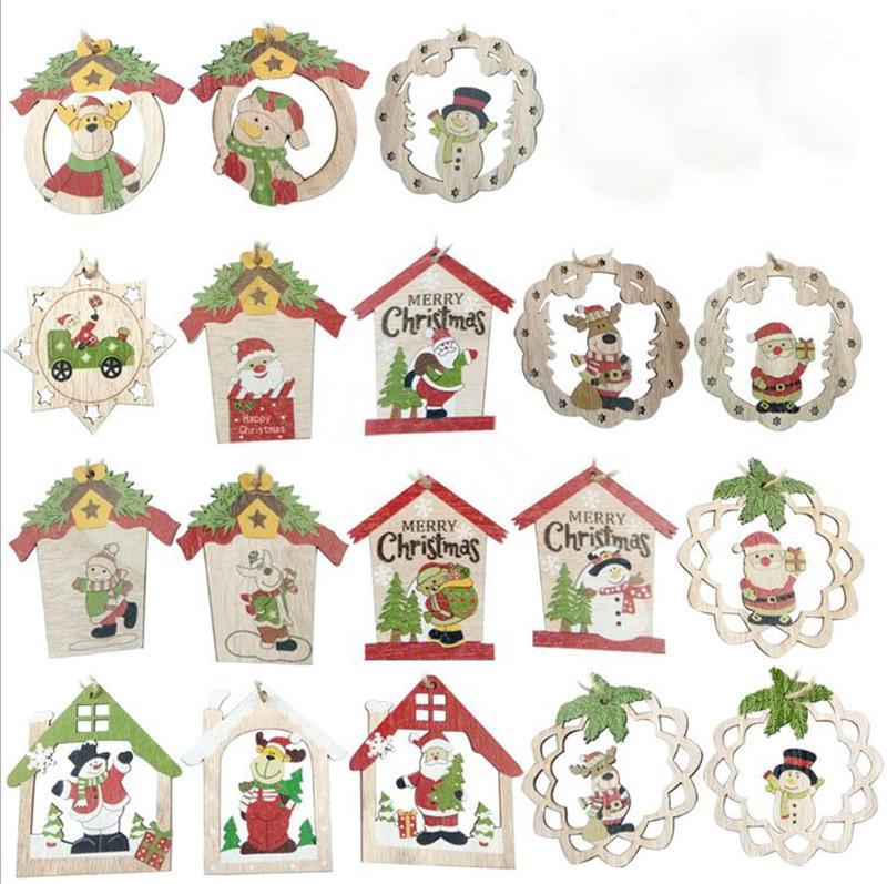 Noel Ahşap Kolye Süsler DIY Ahşap El Sanatları Noel ağacı Süsler Kardan Adam Noel Parti Süsleri DB016