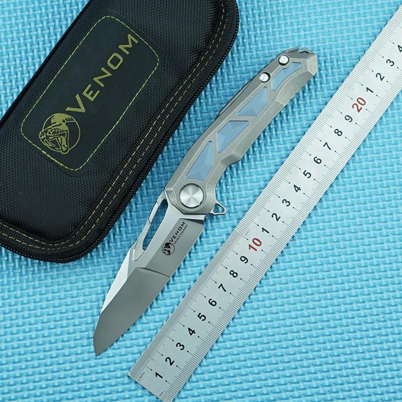 Herramienta EDC maneja el cuchillo plegable Kevin John VENENO pesadilla M390 Hoja de aleación de titanio + fibra de carbono acampar al aire libre cuchillo de la fruta