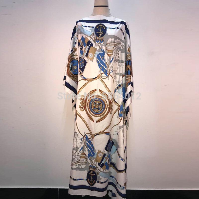 캐주얼 드레스 여성을 위해 인쇄 2021 패션 디자인 느슨한 드레스 Batwing Maxi 긴 Femme Vestidos 여름 가을 파티 우아한