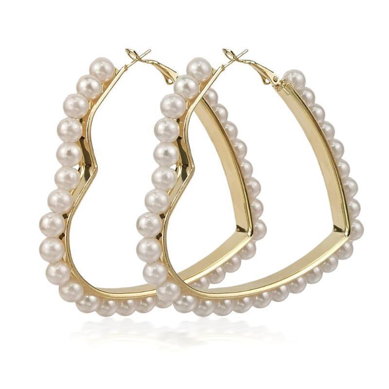 MANILAI Имитация Pearl Big Hoop серьга для женщин 2020 Геометрического сердца Заявления серьги Brincos Женщина ювелирные изделия