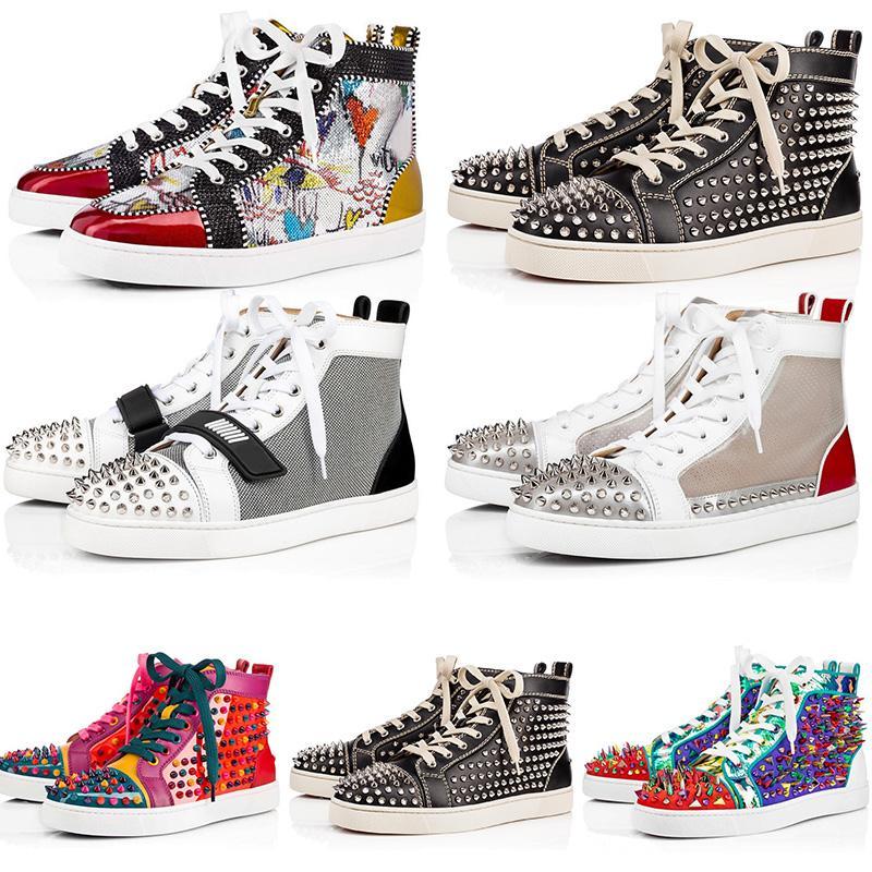 nueva tachonado de moda los puntos rojos inferiores del rojo de cuero de gamuza para mujer para hombre zapatos de diseño de lujo plana amantes de la fiesta zapatillas de deporte de tamaño 36-47