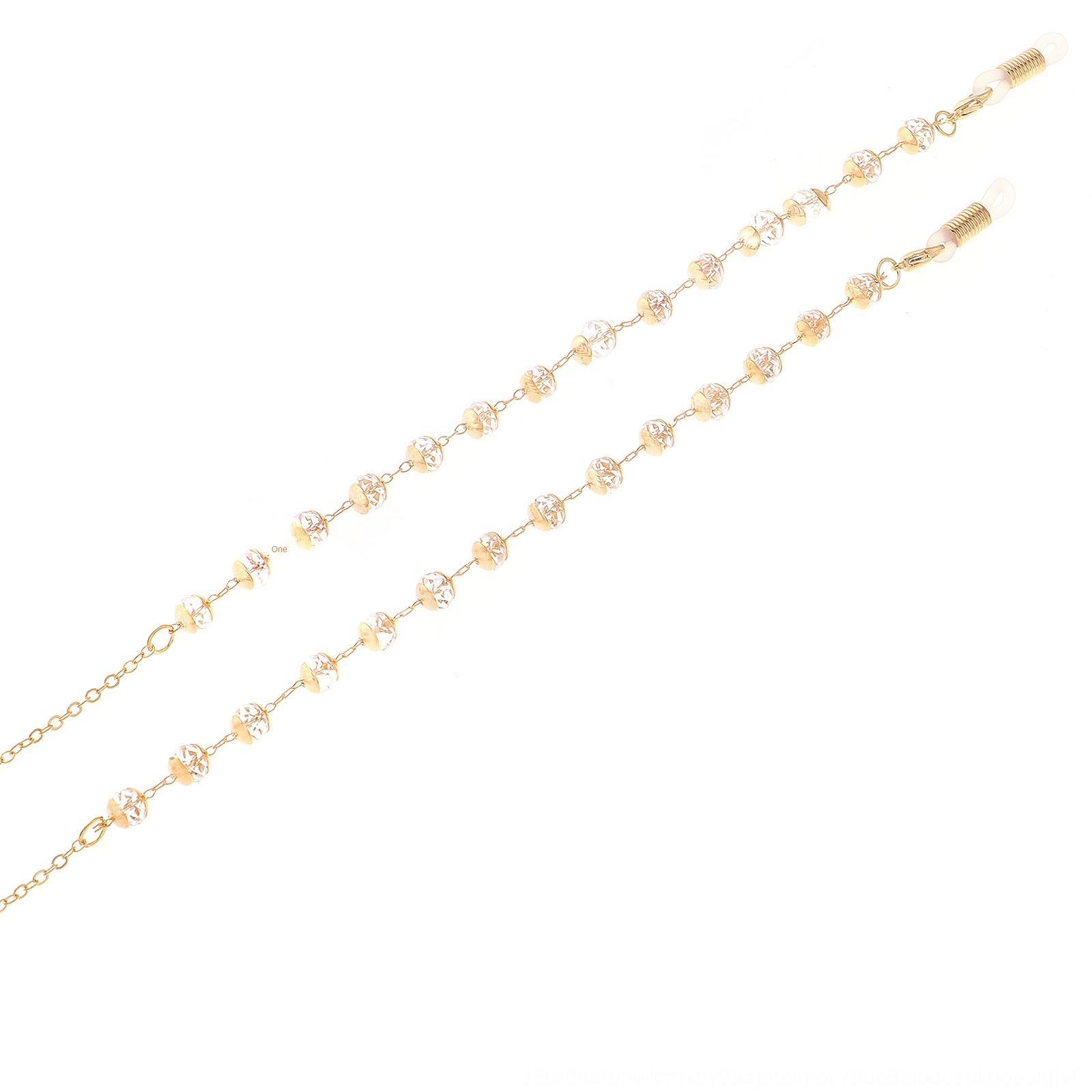 MSNcL Высококачественной подлинного золочения моды цепь дальнозоркости золото прозрачного кристалл нескользящие очки цепь дальнозоркость очки антицепь