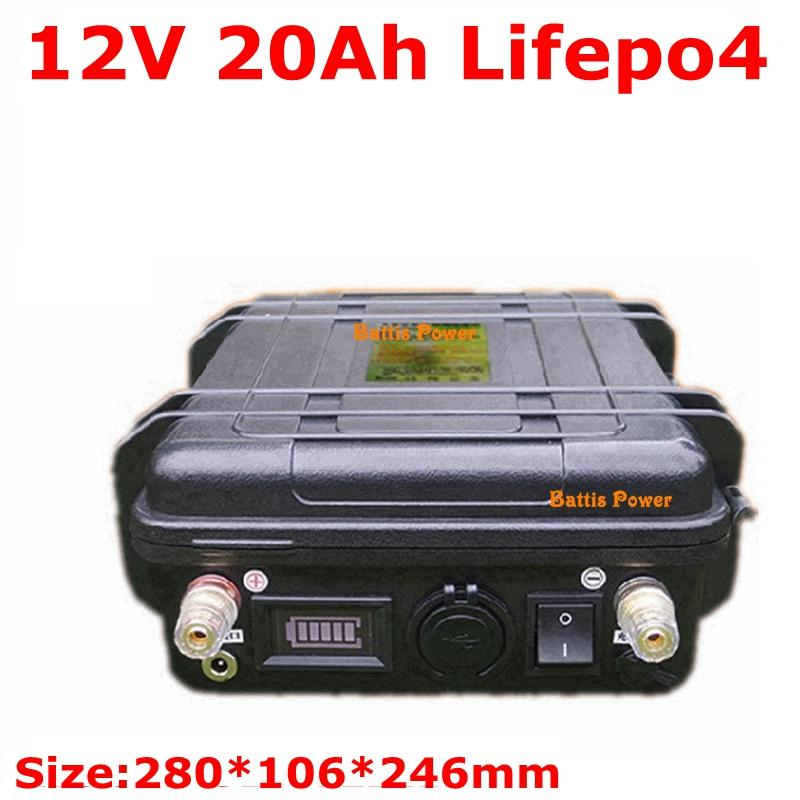 Alta qualidade de 12V 20Ah LiFePO4 bateria lítio com BMS para integrada luz barco de pesca solar de golfe de armazenamento carrinho + carregador 3A