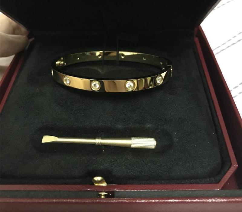 Amour bracelet tournevis argent dix Bracelets diamant blanc diamant rose bracelets en or les hommes des femmes du couple bijoux avec original55
