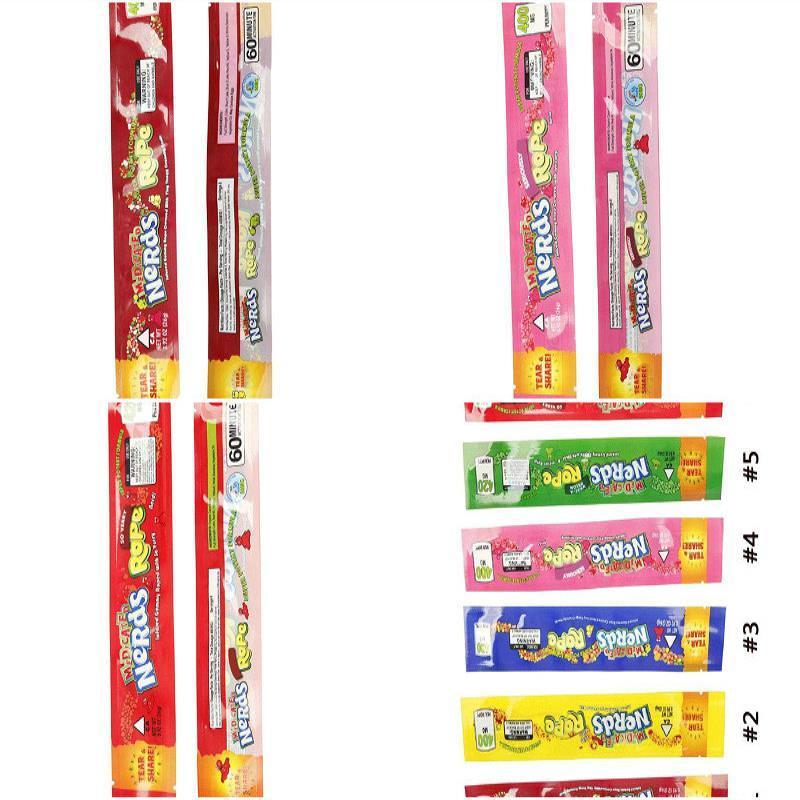 Pacote Bolsas Foil Nerdsrope Poliéster 2020 Rope Bombom 2020 Bag Nerds Opção Cheiro gomoso 9 medicado Styles Proof Embalagem Vazia Food ODskv