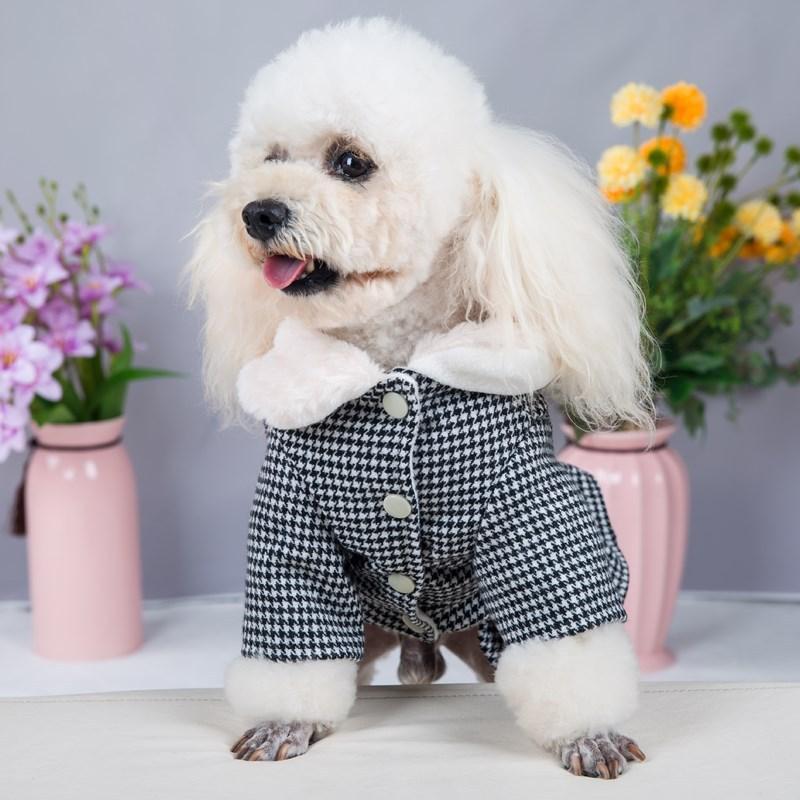 Quente Teddy Bulldog Schnauzer Princess Dress Outono Inverno Pet Dog Outerwears Moda Manta Impresso gato Vestidos cão