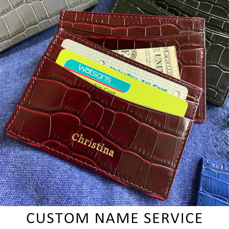 Hiram Beron Genuine Leather Card Holder Men Cow Leather With Crocodile Pattern Wallet Free Custom Name ID Credit Card Wallet LJ200914