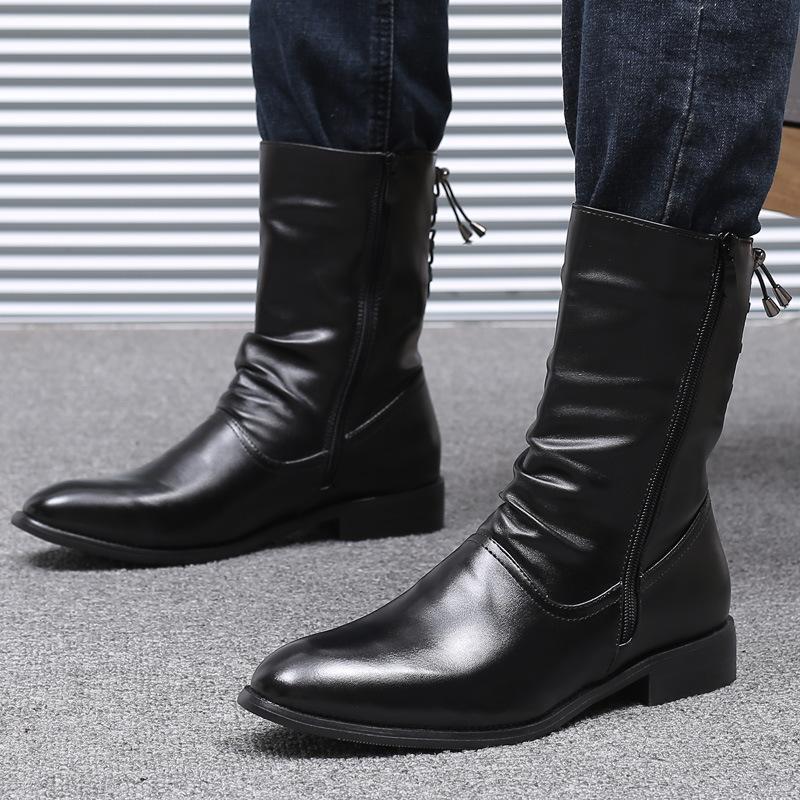 Çizmeler Yüksek Kaliteli Erkekler Tasarımcı Uzun Hakiki Deri Ayakkabı Punk Motosiklet Elbiseler Orta Buzağı Önyükleme Beyefendi Botas