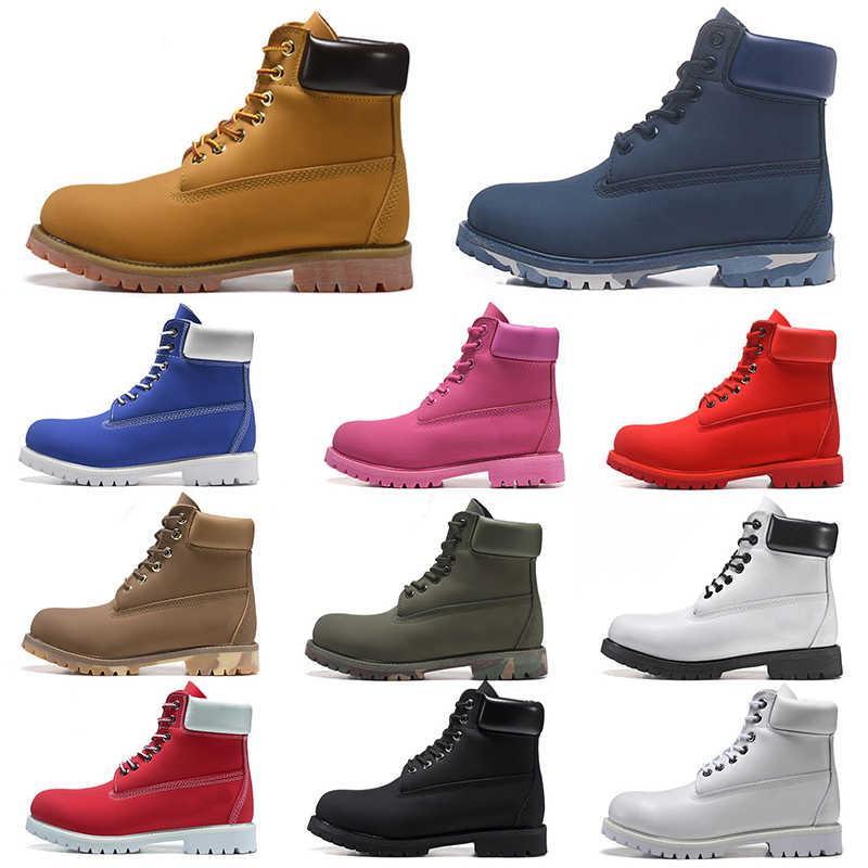2020 Nueva Botas Negro Blanco Marrón Hombres Mujeres al aire libre del cuero Casual Hig Top Caliente zapatos de los pares rosados rojos del 36-45 con la caja