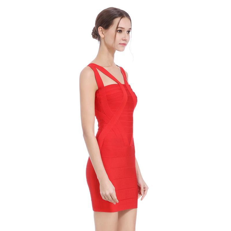 Simple détail Bracelet Bandage d'une seule pièce robe jupe robe creux Slim-Fit Robe rouge Banquet