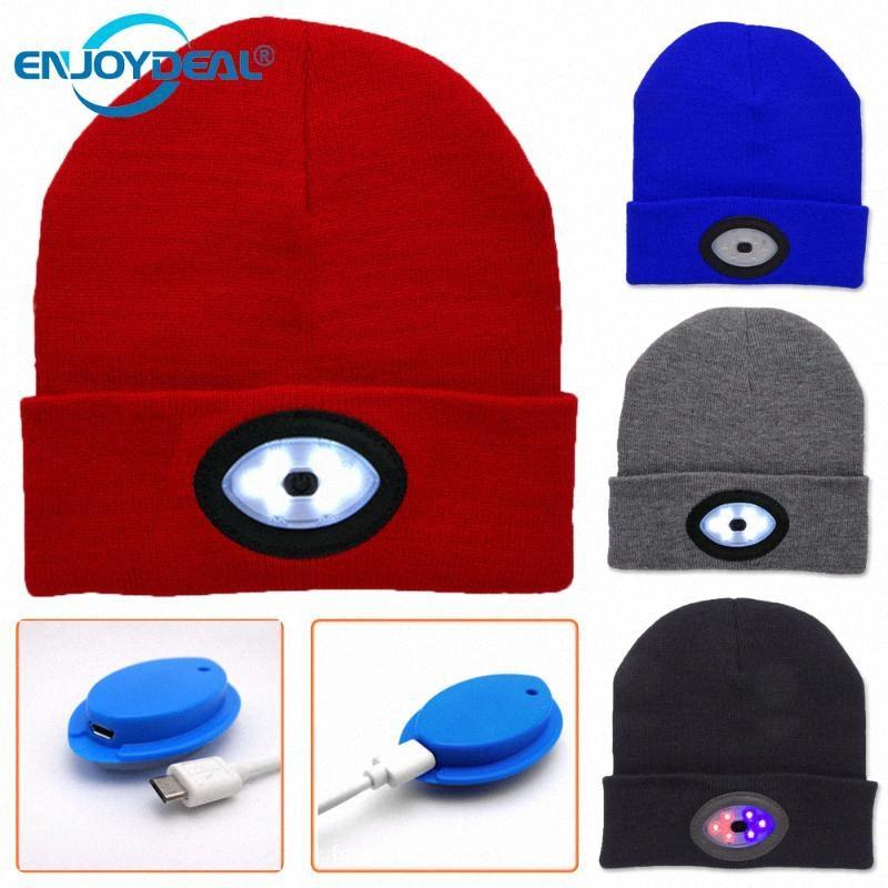 LED rouge / bleu clair chapeau de pêche USB rechargeable éclairage lampe de nuit Camping Chasse Courir Casquettes Tricot Chapeaux Décorations de Noël 7gbJ #
