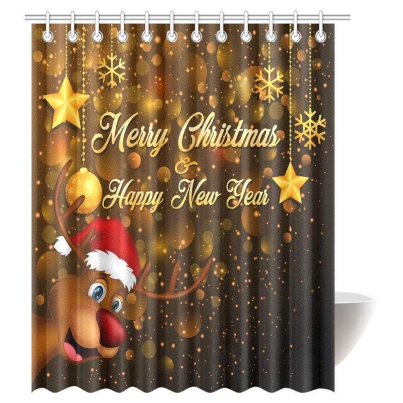 귀여운 루돌프 산타 모자 휴일 키즈 테마 재미 만화 욕실 샤워 커튼과 순록 커튼 메리 크리스마스 샤워