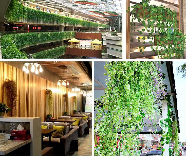 Green Artificial Fake Hanging Vine Plant Leaves Foliage Flower Garland Home Garden Wall Decoration IVY Supplies