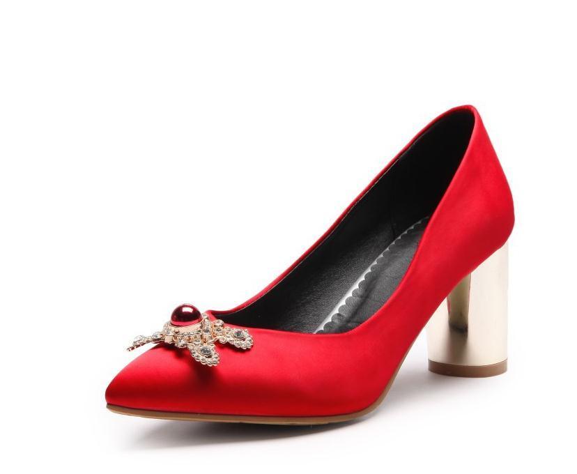 2020 весной и осенью с обувью Новый стиль моды Высокий каблук Грубый пятки заостренный конец женщин в @ DF