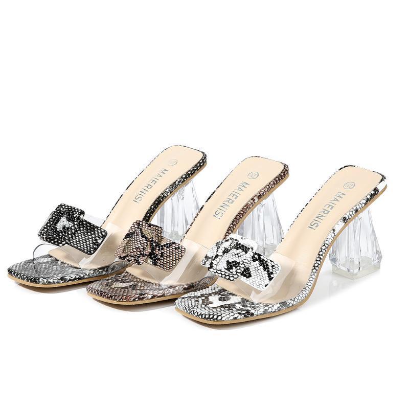 Yaz PVC Moda Kadın Ayakkabı Şeffaf Yüksek Topuk Seksi Sandalet Yılan Cilt Kristal Kare Toe Bayanlar Yüksek topuk Pompalar