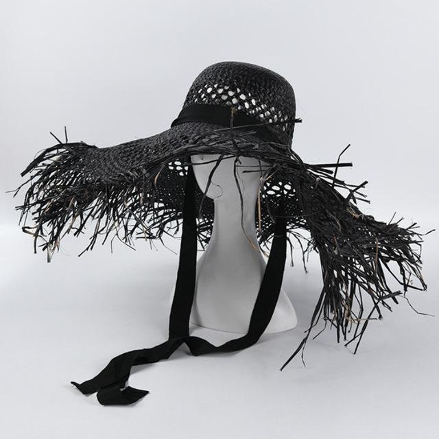 8 couleurs raphia Big ras bord chapeaux de plage pour les femmes dames large Brim Chapeau de soleil creux Respirant Cool Summer Chapeau de paille en gros