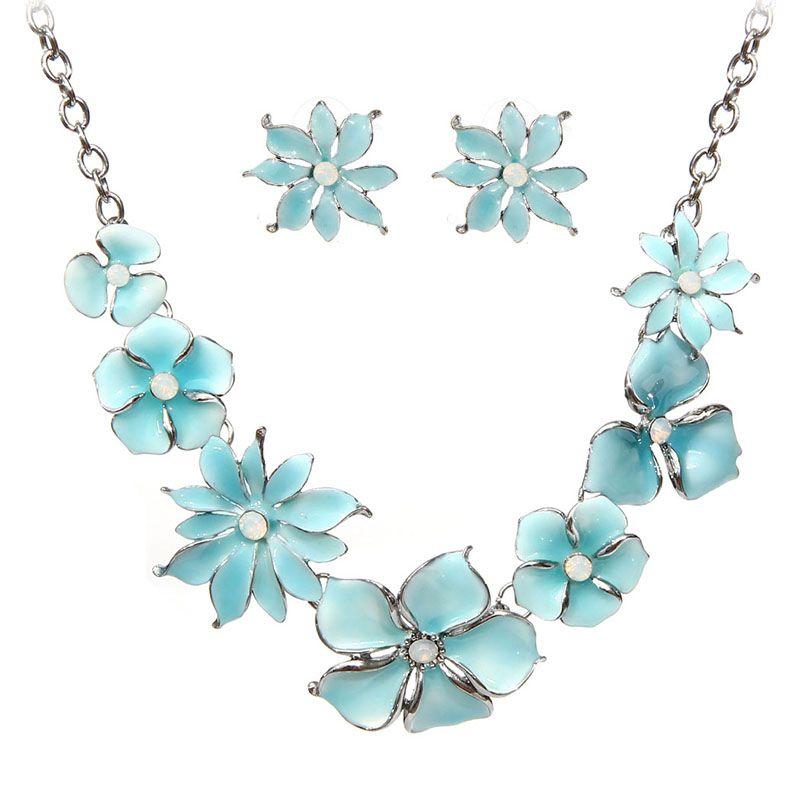 Enamel Flower Necklace Earrings Jewelry Sets For Women Retro New Chain Female Choker Necklace Stud Earrings Set 2020