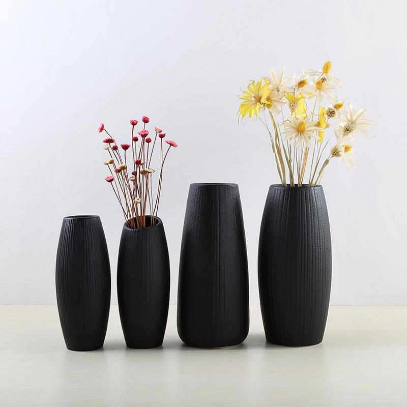 1pcs Modern Simple Black Color Ceramic Vase Retro Container European Handmade Crafts Vase DIY Home Living Room Garden Decoration