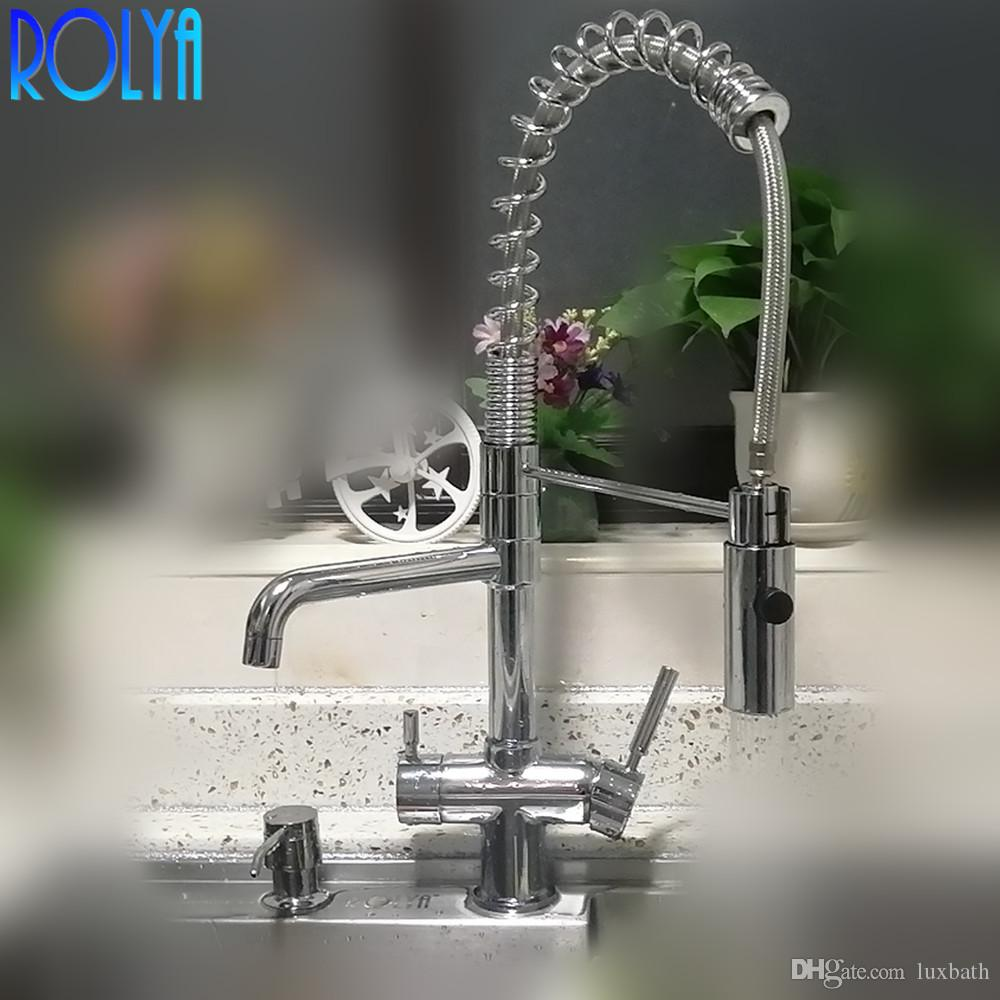 2021 Rolya New Commercial Tri Flow Kitchen Faucet With Spring Hose Sink Mixer Professional 3 Way Water Filter Tap From Luxbath 158 8 Dhgate Com
