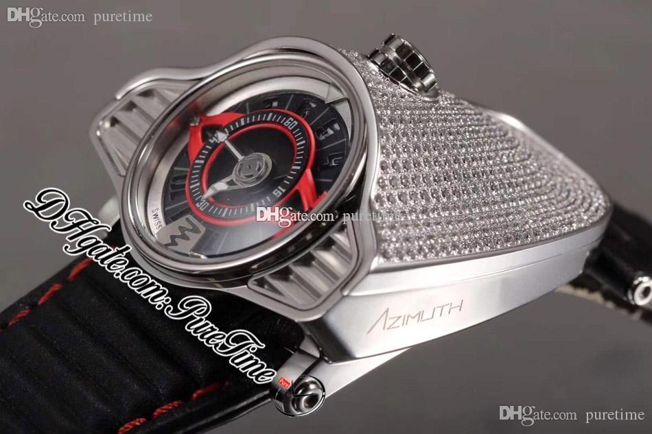 Azimuth Gran Turismo 4 Varyantlar SP.SS.GT.N001 Tam Elmaslar Miyota Otomatik Erkek İzle Siyah Kırmızı Arama Deri Kırmızı Hattı ile 2021 Puretime