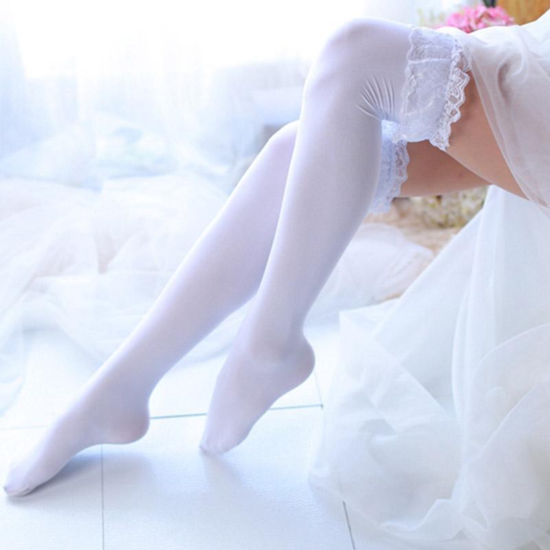 Clássico Mulheres Moda High Over Knee Socks Coxa alta meias opacas Big Lace Sexy Student Preto Longo Sock (SO16)