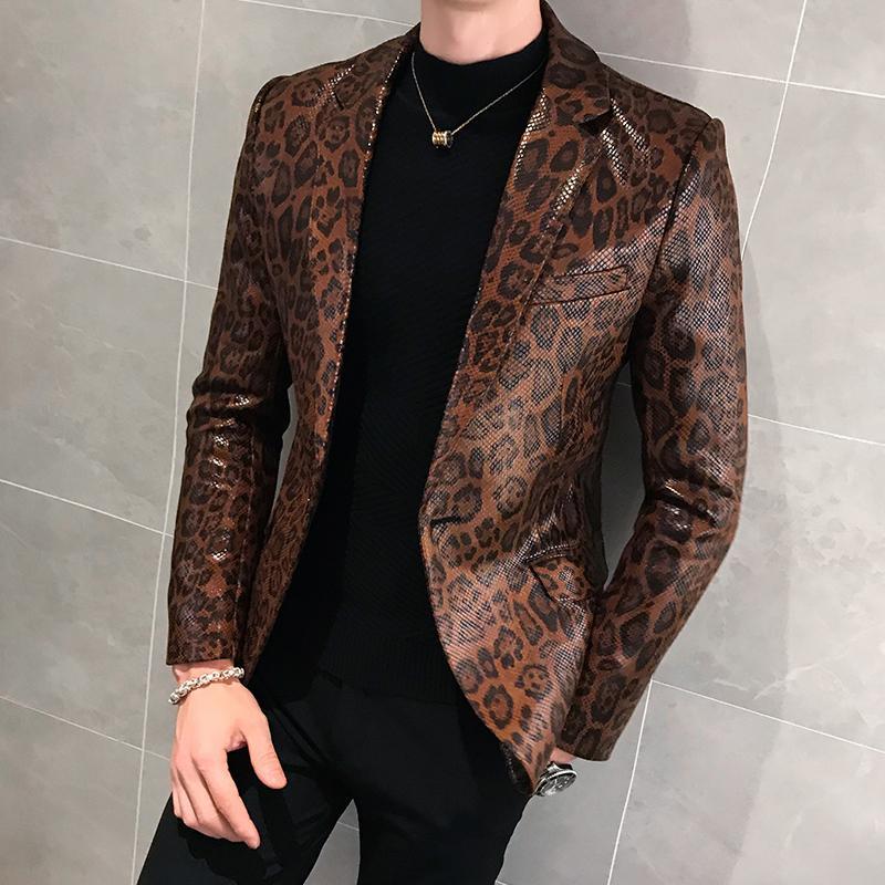 Leopard Print Herbst Herren Blazer Skin Anzug Jacke Leder Bühne Kostüme für Sänger Lose Mantel Blaser Homenen Terno Masculino