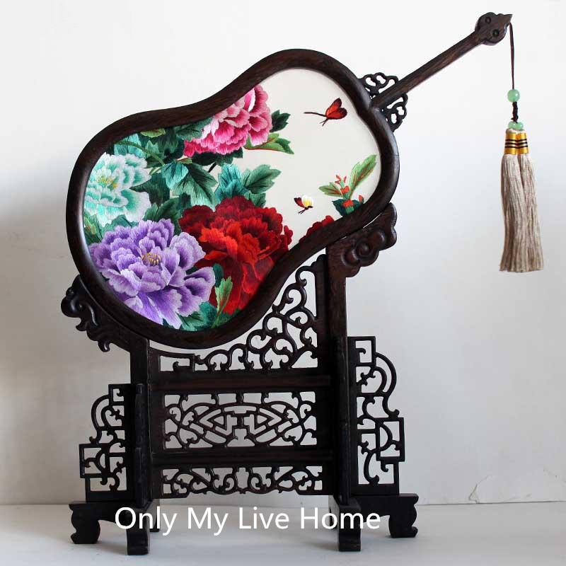 중국 장식 홈 거실 장식품 사무실 테이블 액세서리 수공예 실크 자 수 패턴 wenge 프레임 결혼 생일 선물