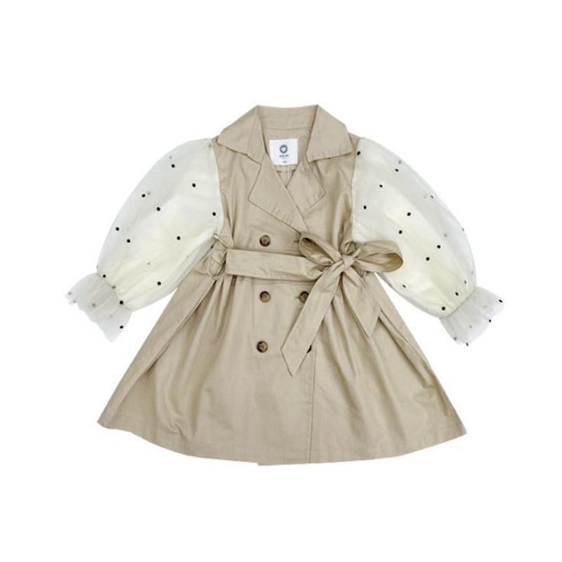 DFXD Англия Стиль Детей Девушка Ветровка Куртка Мода весна осень Dot сетка слоеного рукав девушка пальто дети Outwear