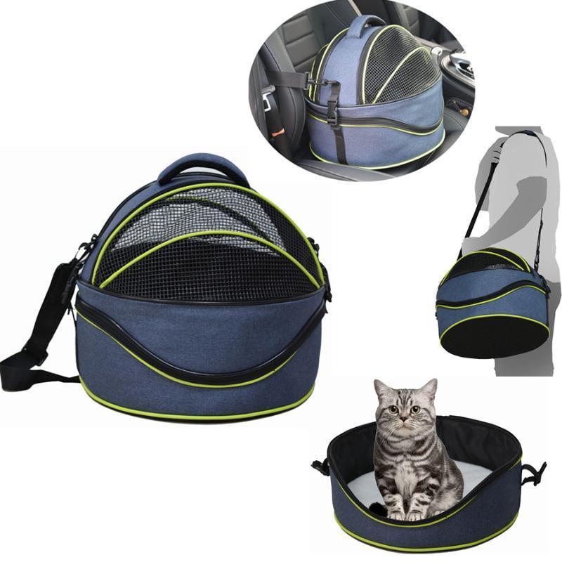 Ethin Pet Dog Cat Double Mochila Forma 3-en-1 Bolsa / Cat de gato / Paquete de pecho de Hombro Coche Coche Redondo Puppy Viaje multifuncional Hlllm
