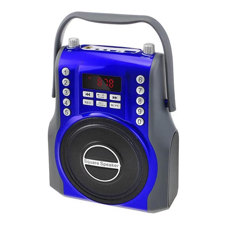 15W Square Wireless Bluetooth Speaker FM Radio Receiver Digital 3D Subwoofer Portable Music MP3 Player Micro-SD/TF Card USB Slot