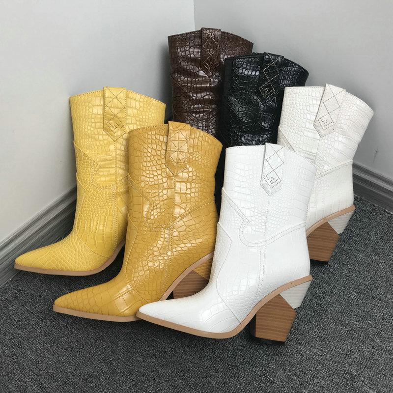 Weiß Beige-Schwarz-Gelb-Leder-Cowboy Ankle Boots für Frauen-Keil-Absatz-Stiefel Snake Drucken Westcowgirl Stiefel 2019 T200909